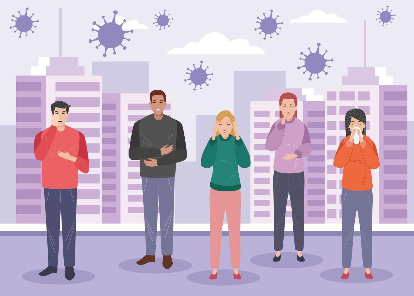 Gruppe von Menschen mit Coronavirus-Symptomen krank vektor