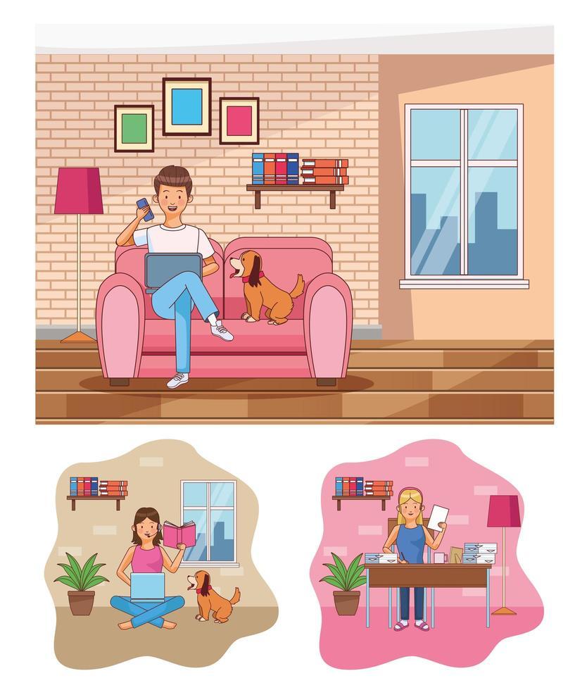 Szenen der Arbeit zu Hause vektor