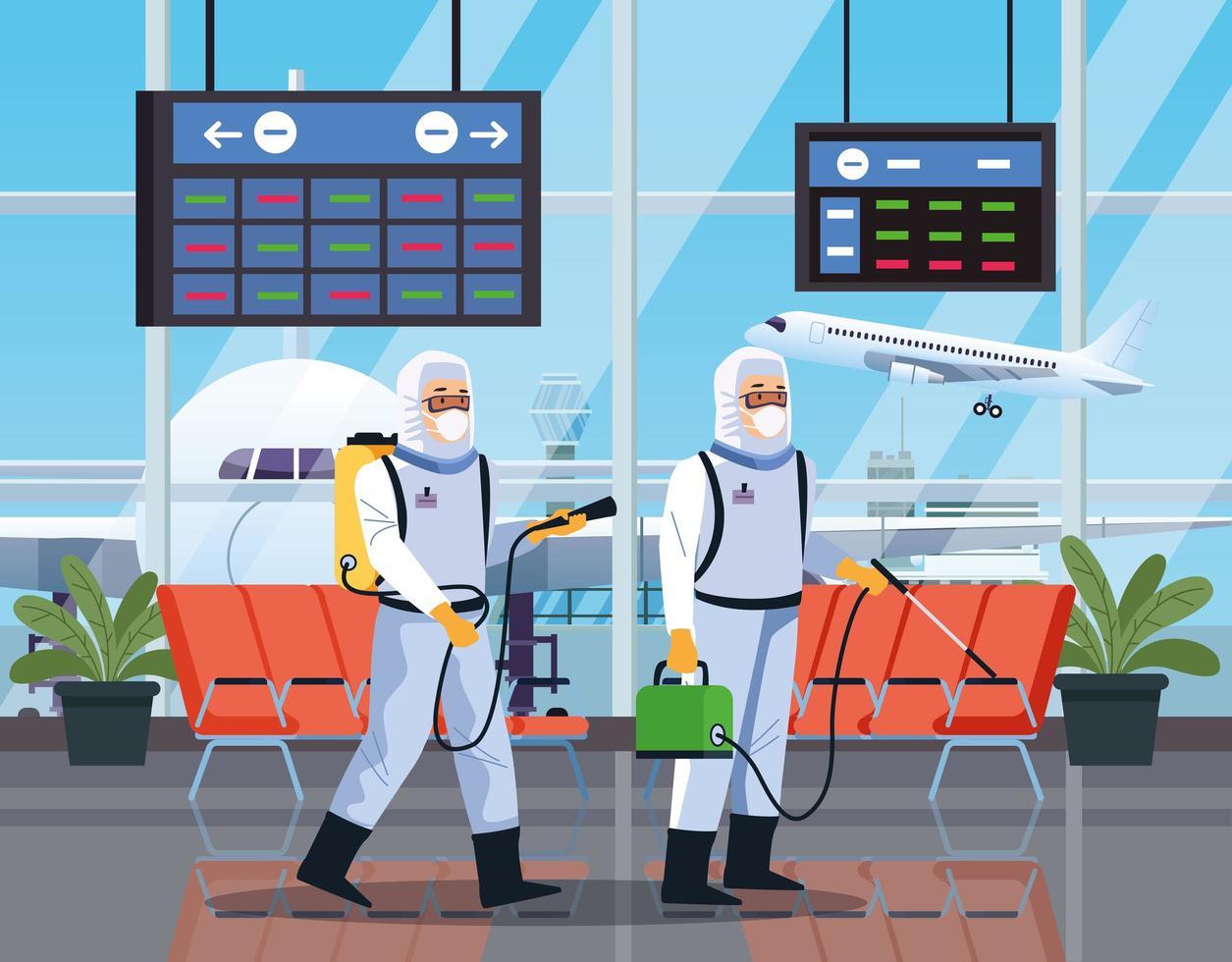 Zwei Biosicherheitsarbeiter desinfizieren den Flughafen vektor