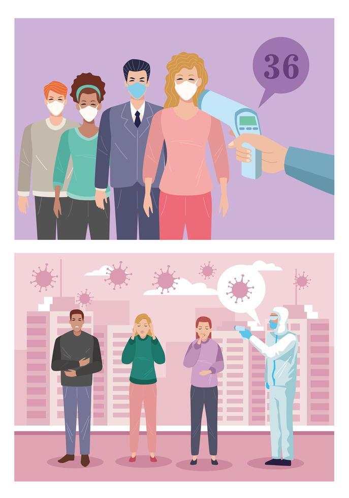 grupp människor som är sjuka med covid 19 symtom vektor