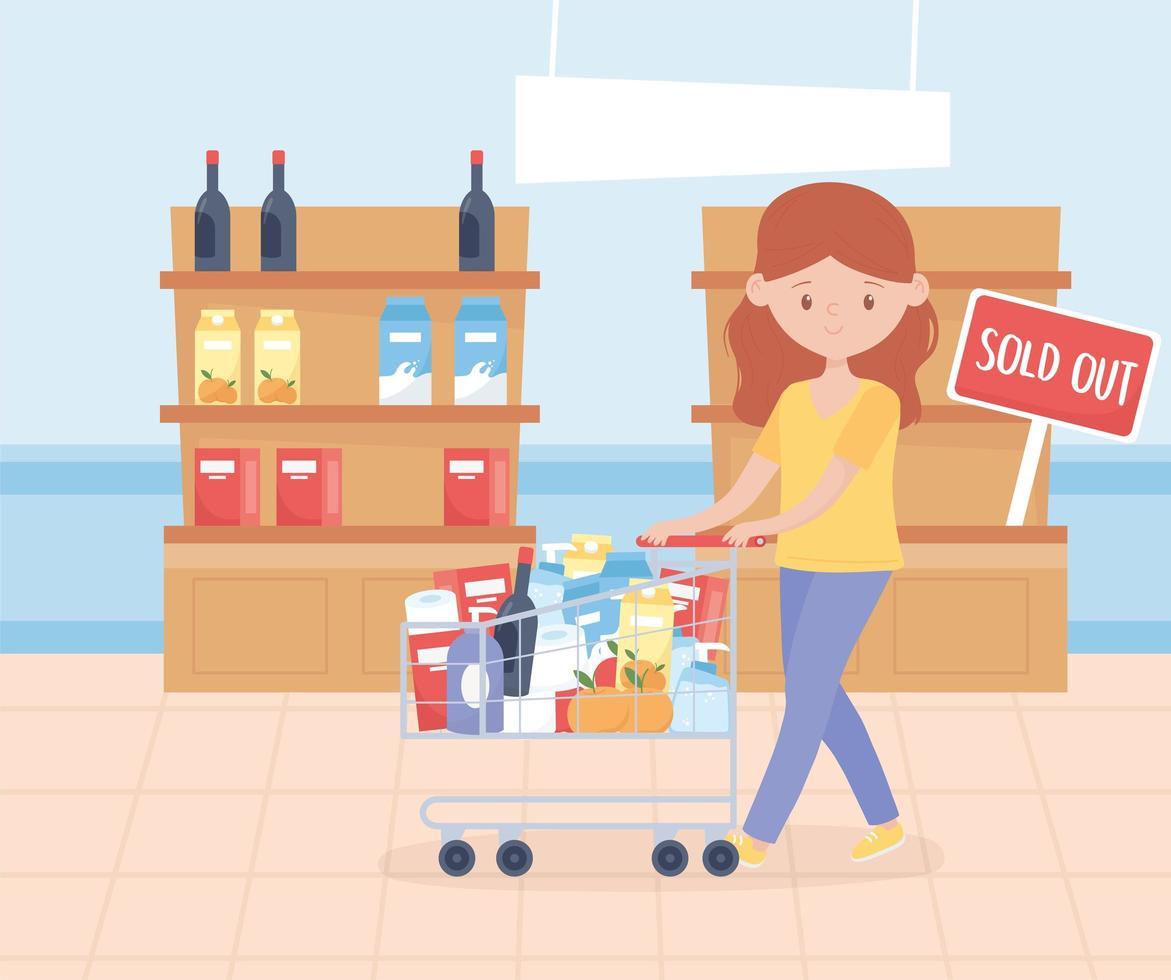 junge Frau mit Einkaufswagen auf dem Markt vektor