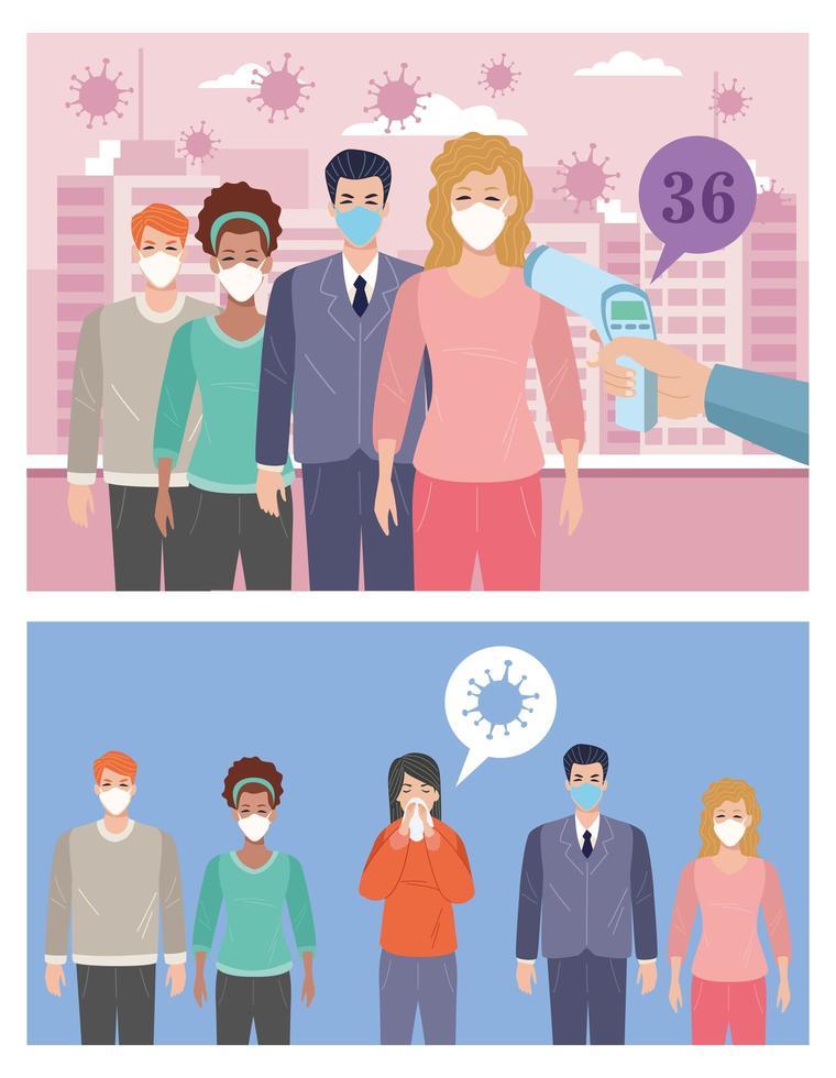personer som använder ansiktsmasker i temperaturkontrollpunkten vektor