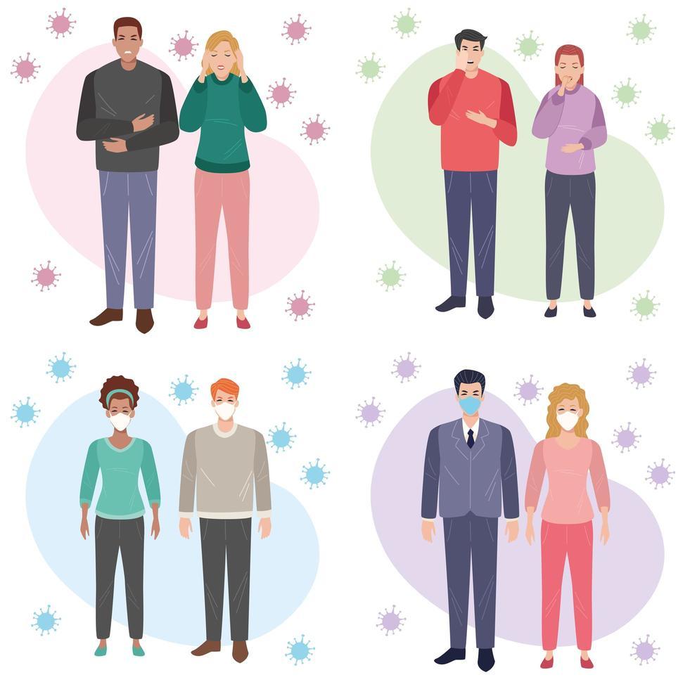 Gruppe von Menschen mit 19 Symptomen und andere mit Gesichtsmasken vektor
