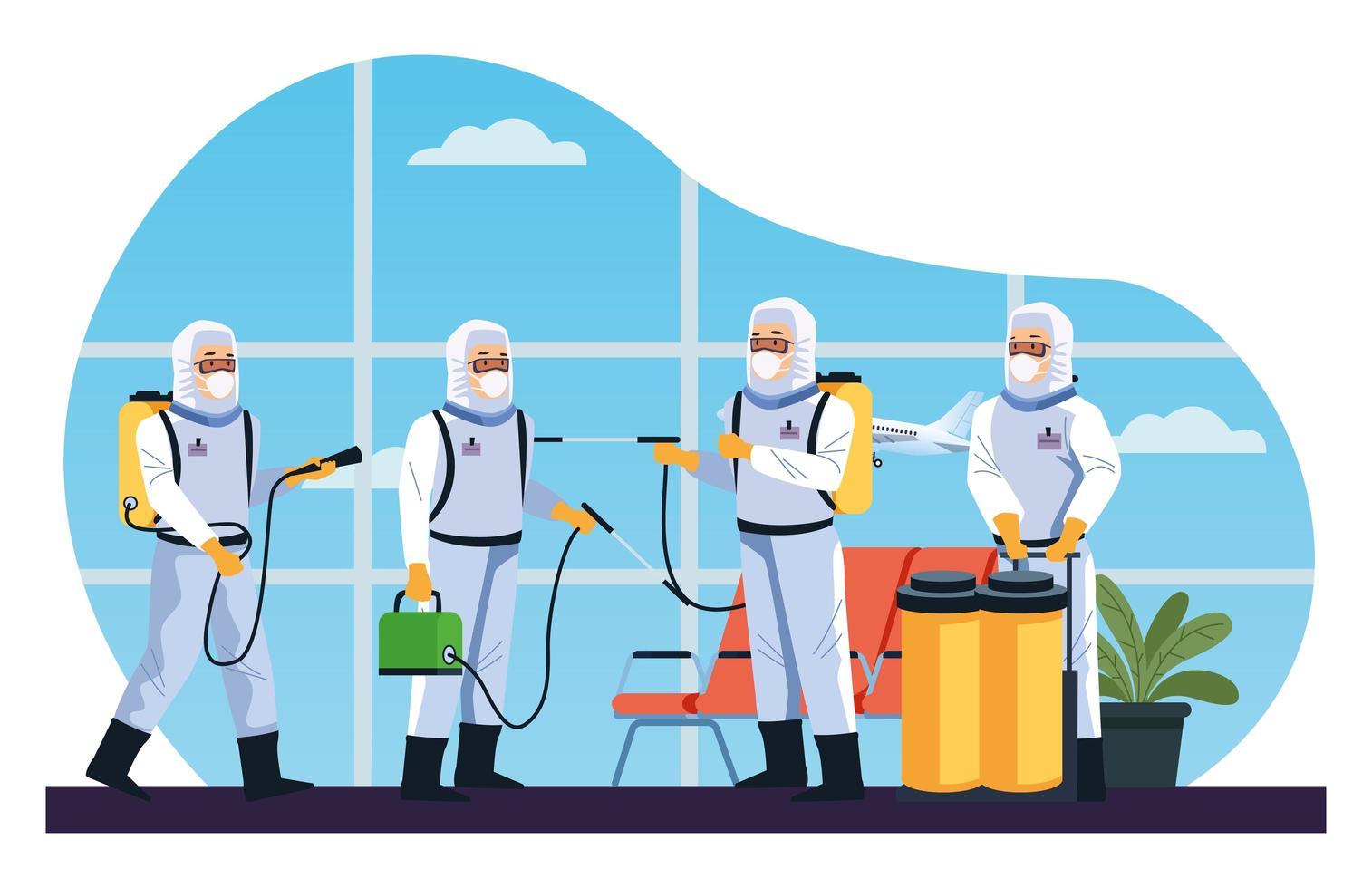 Biosicherheitsarbeiter desinfizieren den Flughafen auf Coronavirus vektor