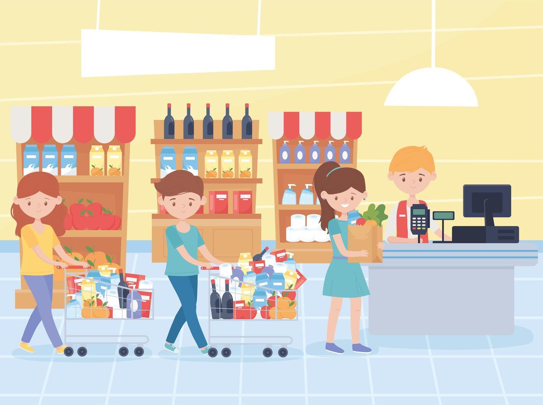 Kunden, die darauf warten, ihre Lebensmittel an der Kasse zu bezahlen vektor