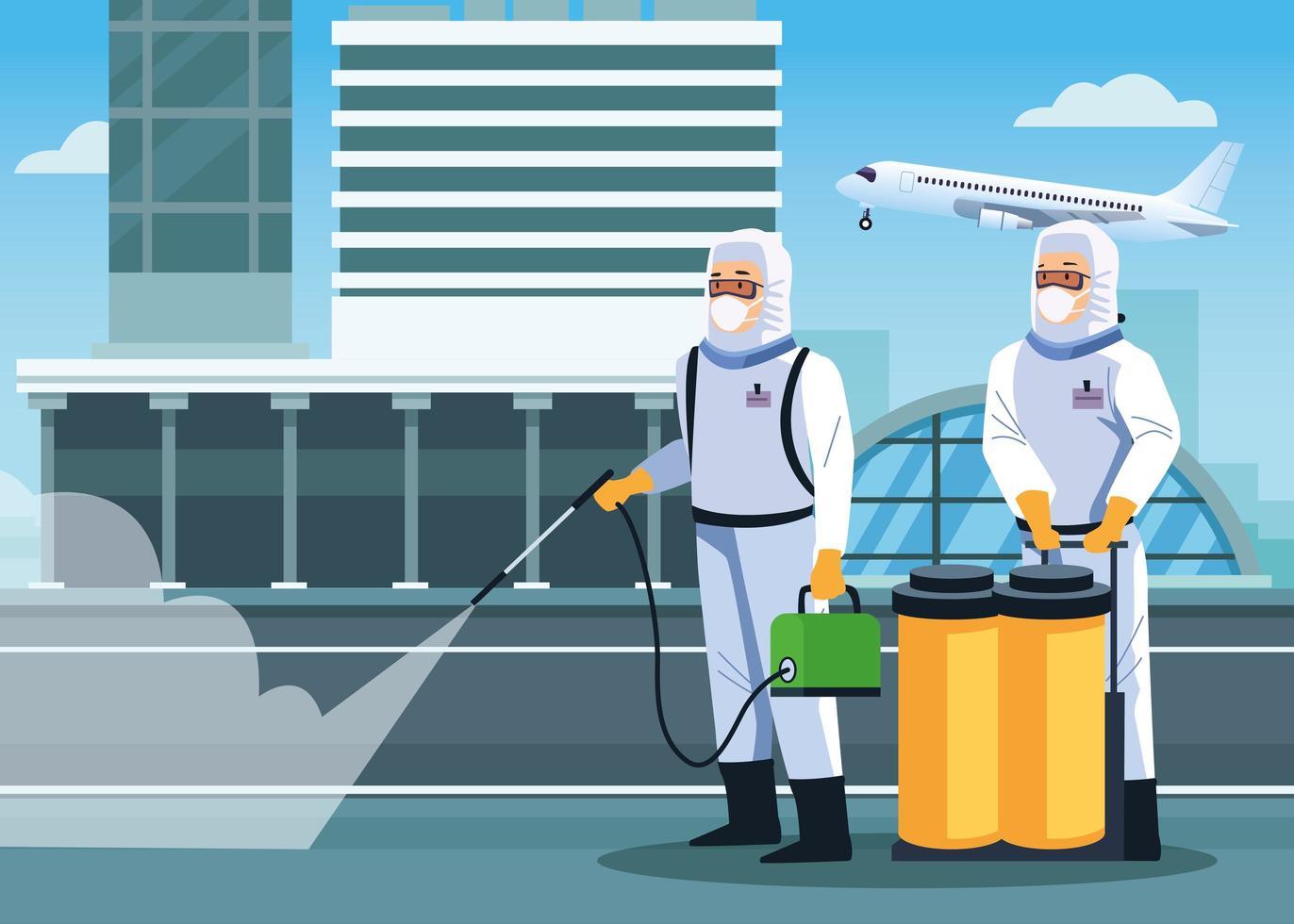 biosäkerhetsarbetare desinficerar flygplatsen vektor