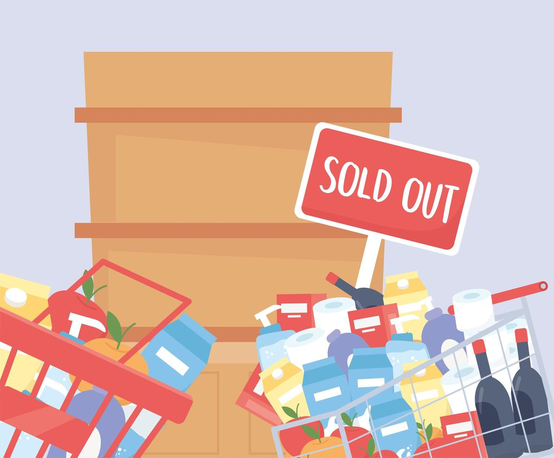 Korb und Einkaufswagen mit Produkten und leerem Regal gefüllt vektor