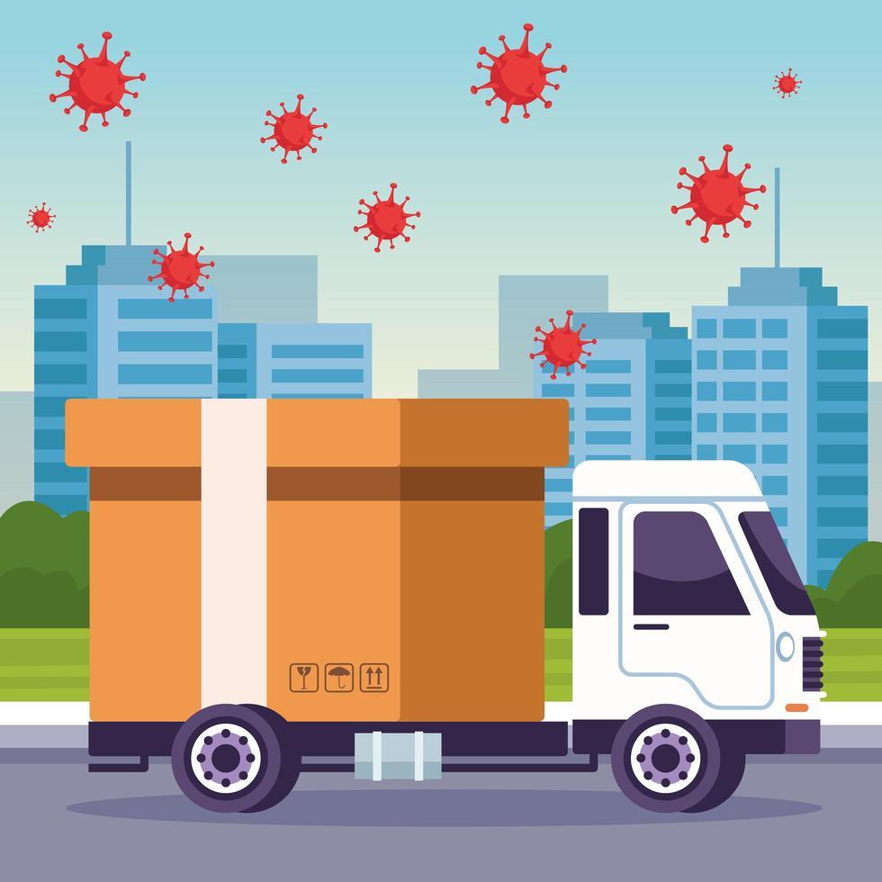 leverans av lastbilsfordon med coronaviruspartiklar vektor