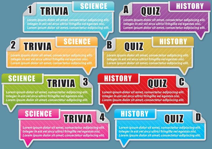 Trivia und Quiz Textfelder vektor