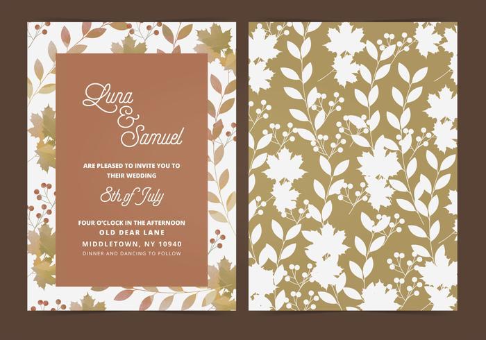 Vector Fall Leaf Bröllop Inbjudan