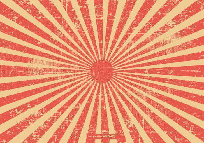 Röd grunge stil sunburst bakgrund vektor
