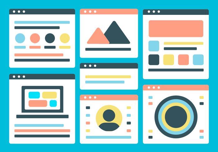 Free Flat Website Layout Vektor Hintergrund Zwei