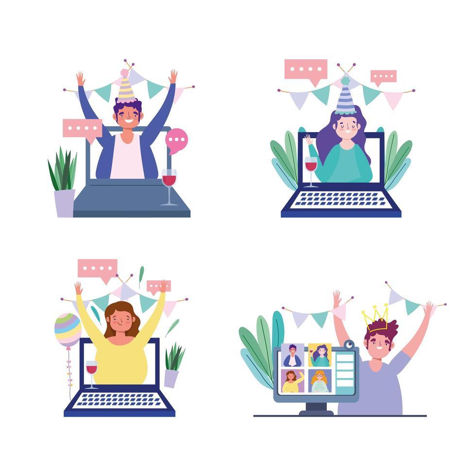Personen auf ihren Online-Geräten für ein Party-Icon-Set vektor