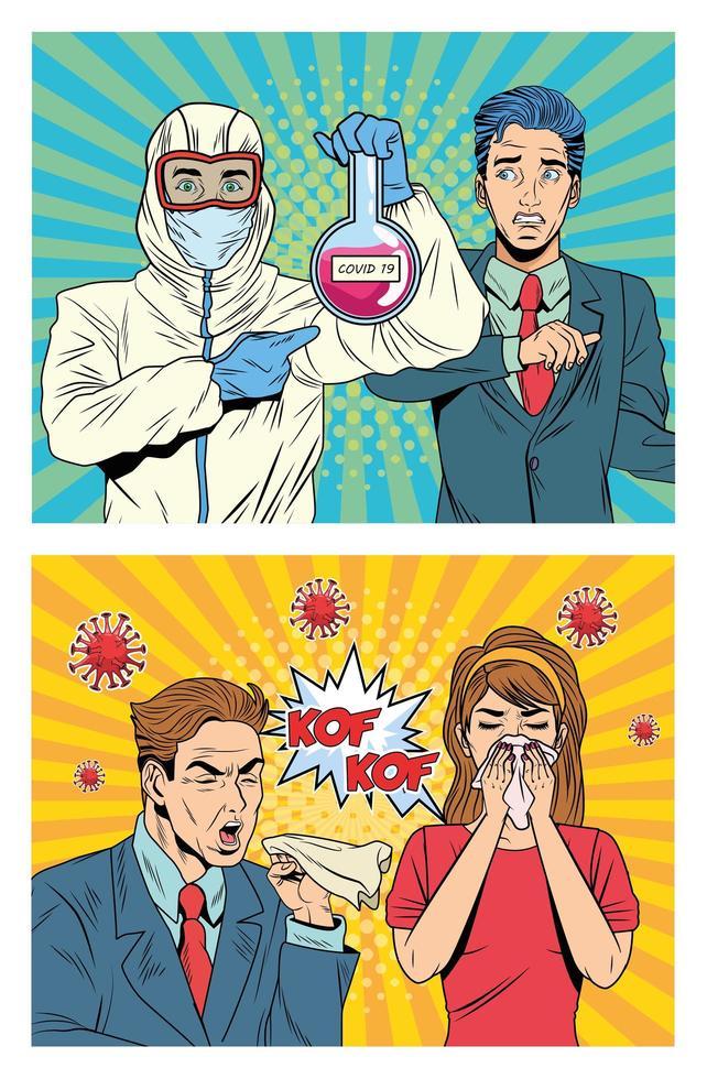 personer med covid 19 pandemikaraktärer i pop art stil vektor