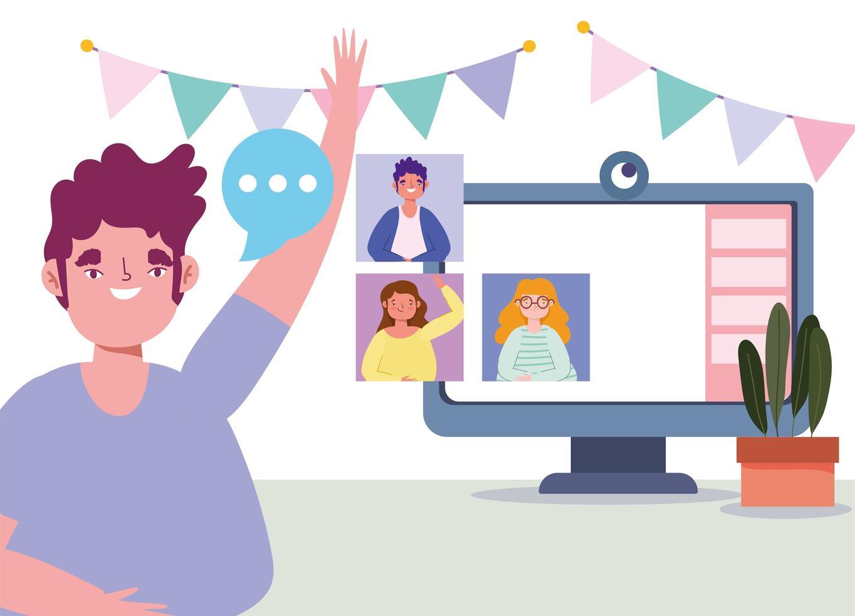 vänner som har kul i ett online-möte vektor