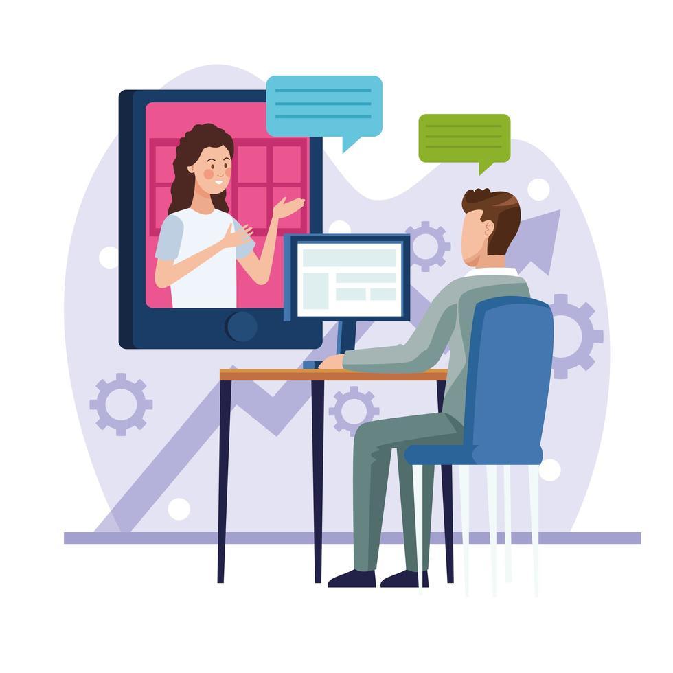 företagsledare i online återförening vektor