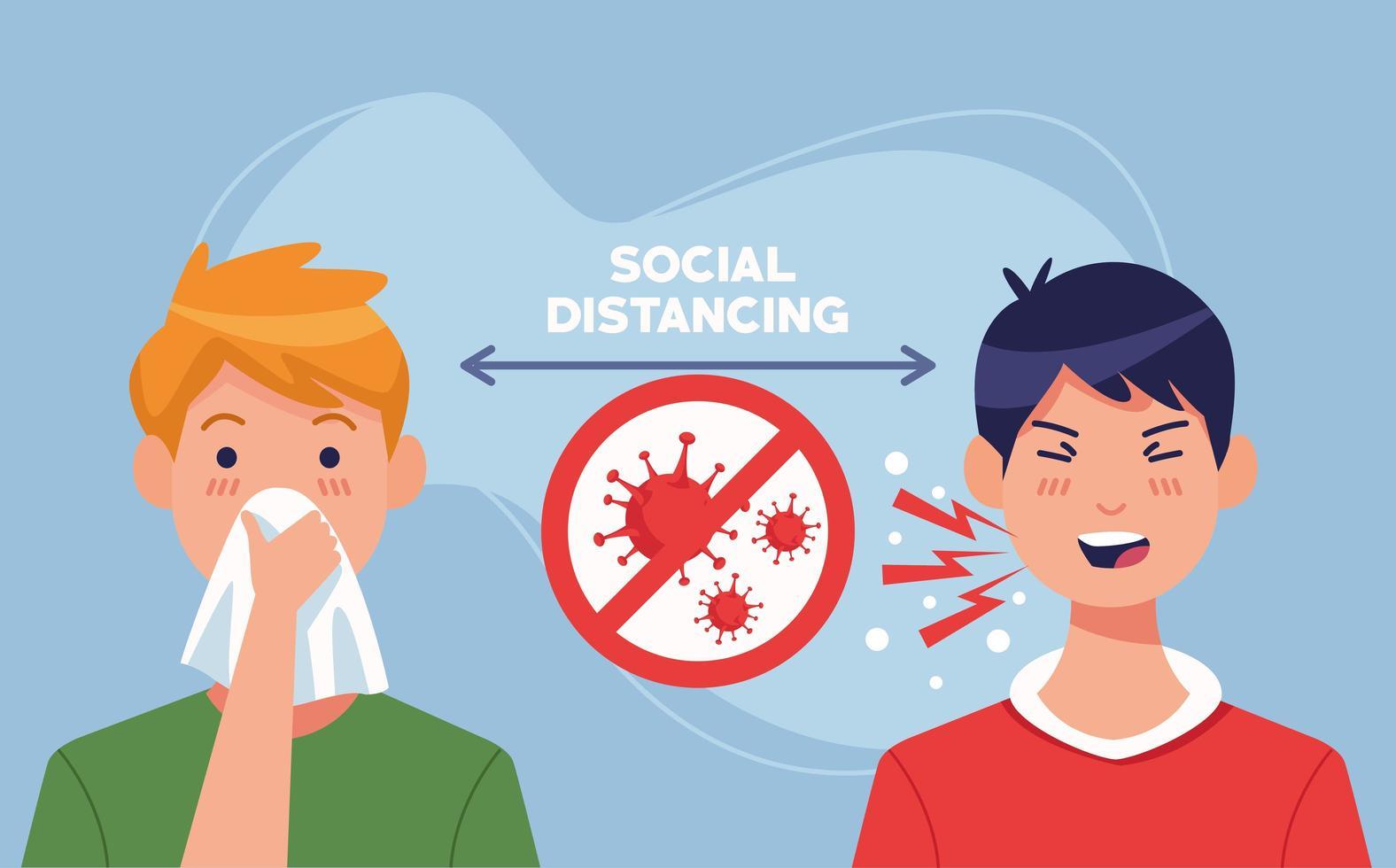 junge Männer, die an 19 Symptomen in sozialer Distanz erkrankt sind vektor