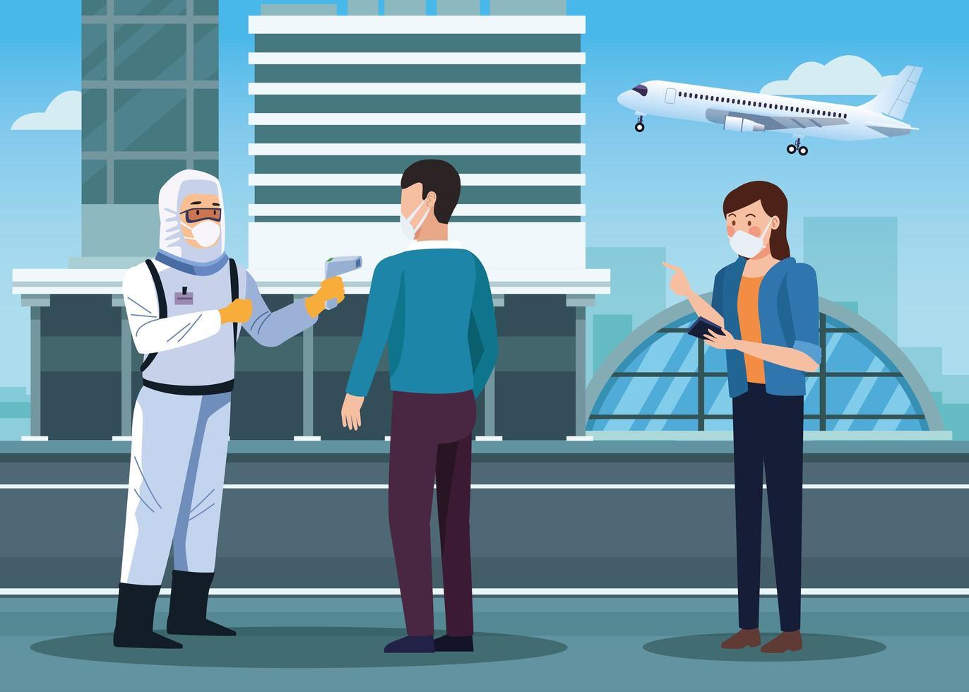 biosäkerhetsarbetare som kontrollerar temperaturen på flygplatsen för covid 19 vektor