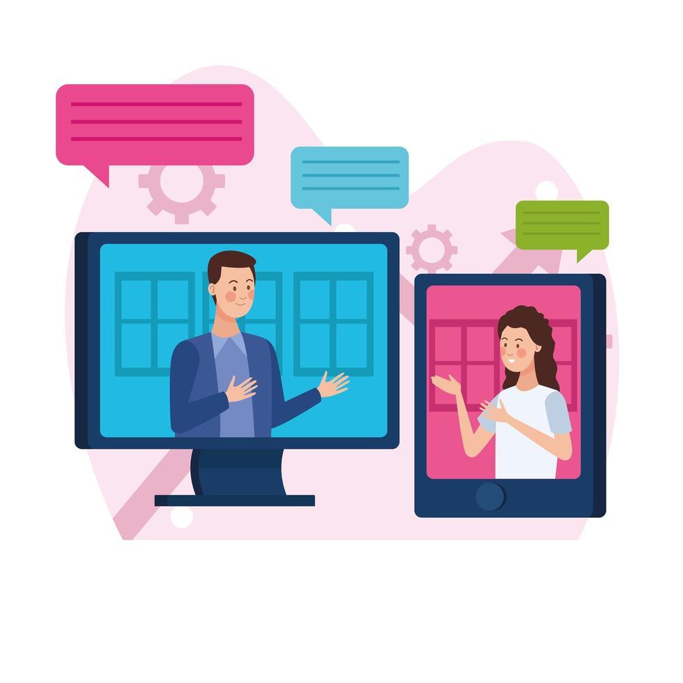 affärspartner i online-möte vektor