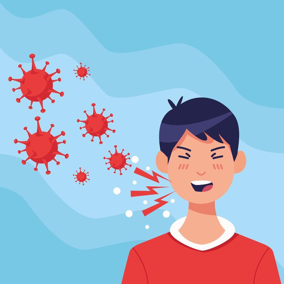 ung sjuk man som hostar med koronavirussymtom vektor