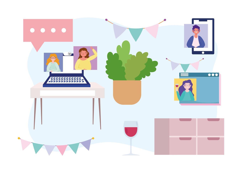 uppsättning online-fest och hemikoner vektor