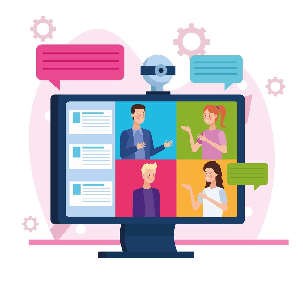 Bildschirm mit Geschäftsleuten in Online-Meeting vektor