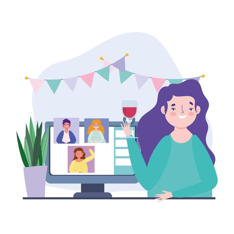 kvinna på en online-fest och firande via videosamtal vektor