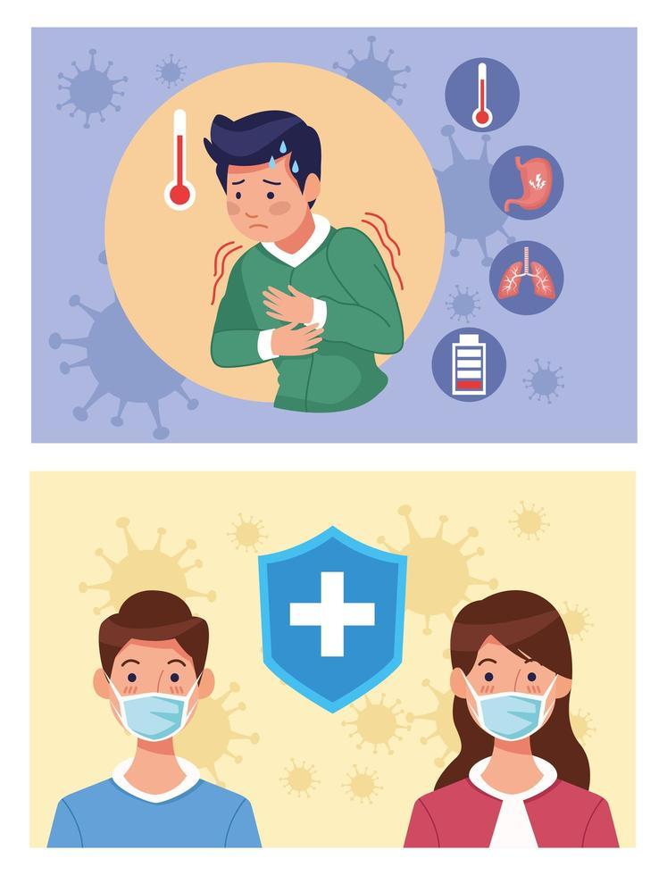 Kranke mit Schutzmasken mit Coronavirus vektor