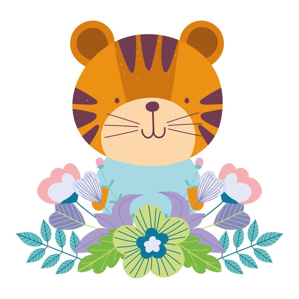 süßer Tiger mit Blumen und Laub vektor