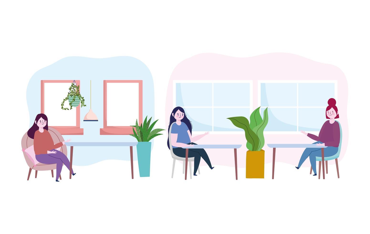 Frauen drinnen soziale Distanz Icon Pack vektor