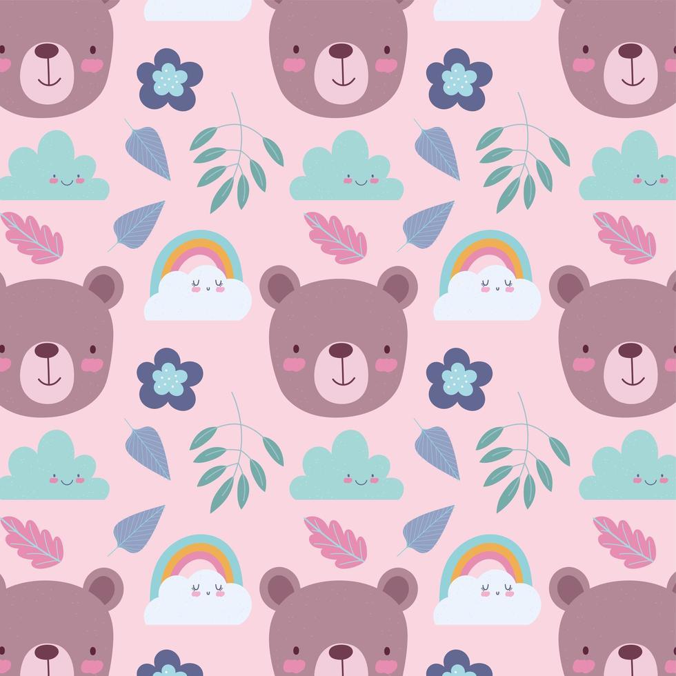 kleiner Bär Gesichter Musterhintergrund vektor