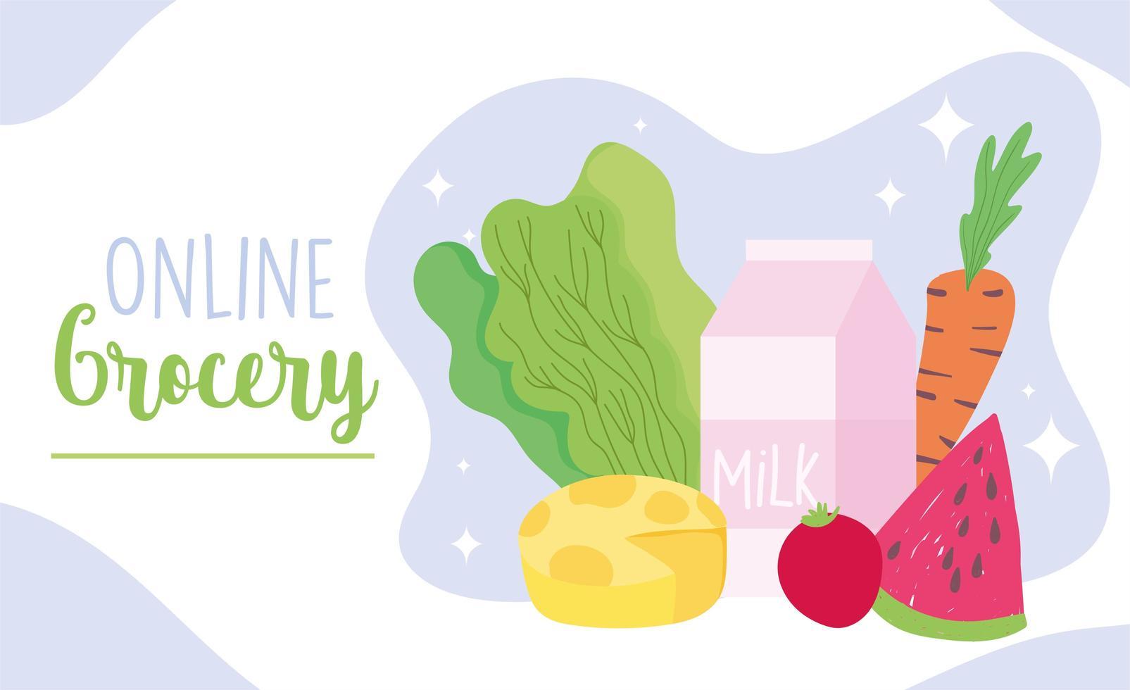 Online-Lebensmitteleinkauf Banner Vorlage mit Produkten und Milchprodukten vektor