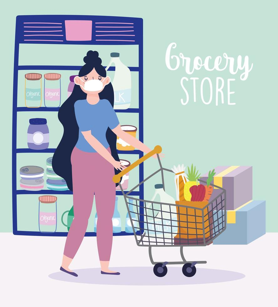 Frau, die eine Gesichtsmaske und Lebensmitteleinkauf trägt vektor