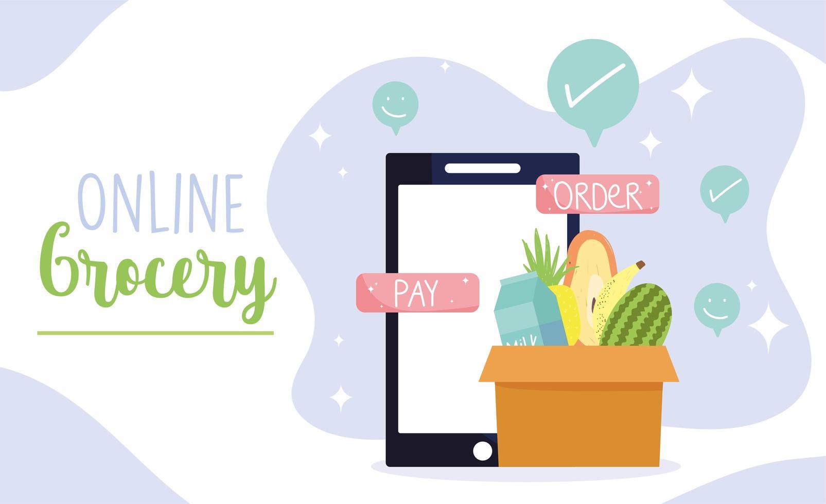 Online-Banner-Vorlage für Lebensmittelgeschäfte mit Smartphone und einer Schachtel mit Produkten vektor