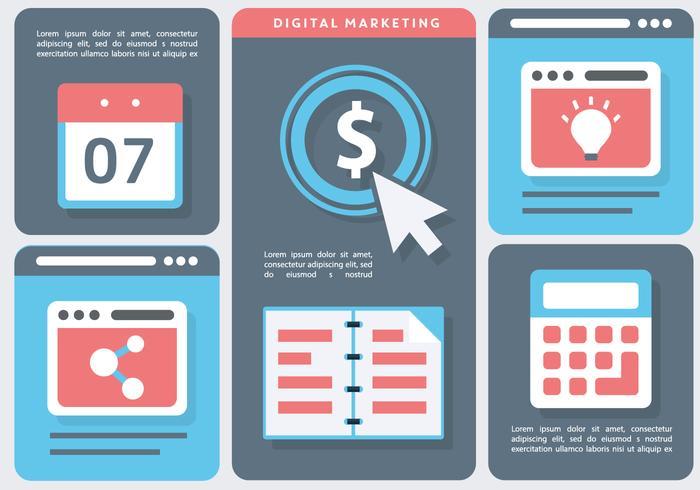 Digital marknadsföring logistik vektor illustration