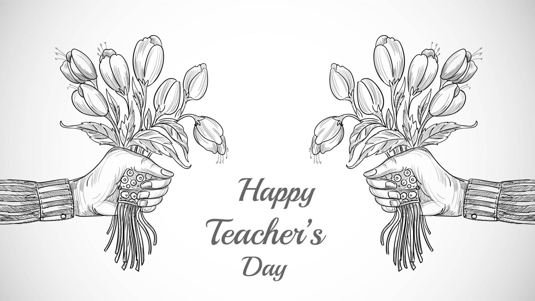 Hand mit Blumenstrauß skizzieren Lehrertag vektor