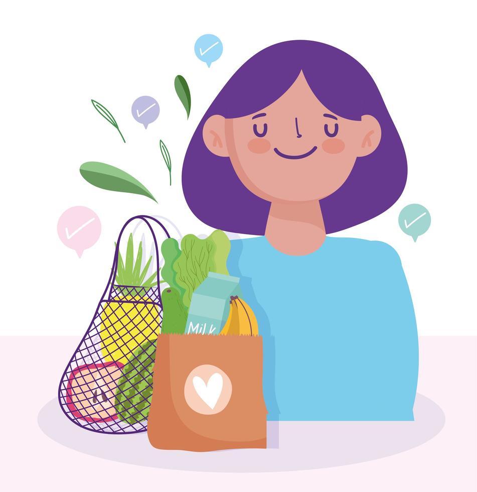 Frau mit Taschen voller Lebensmittel vektor