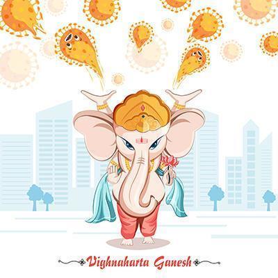 Ganesha, Vighnaharta Ganesh. vektor