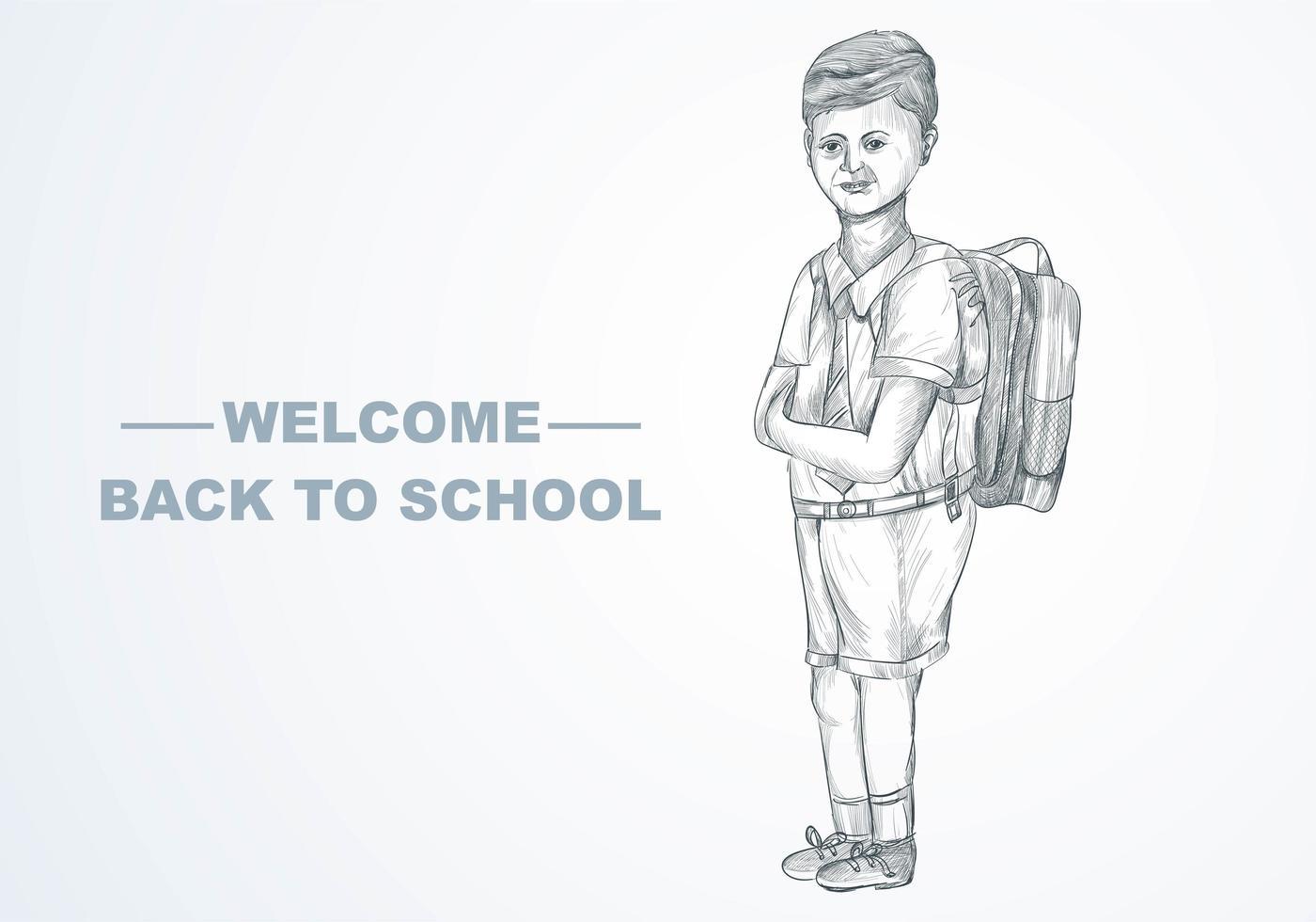 handgezeichnetes Skizzenkind mit Schulrucksack mit Schulhintergrund vektor
