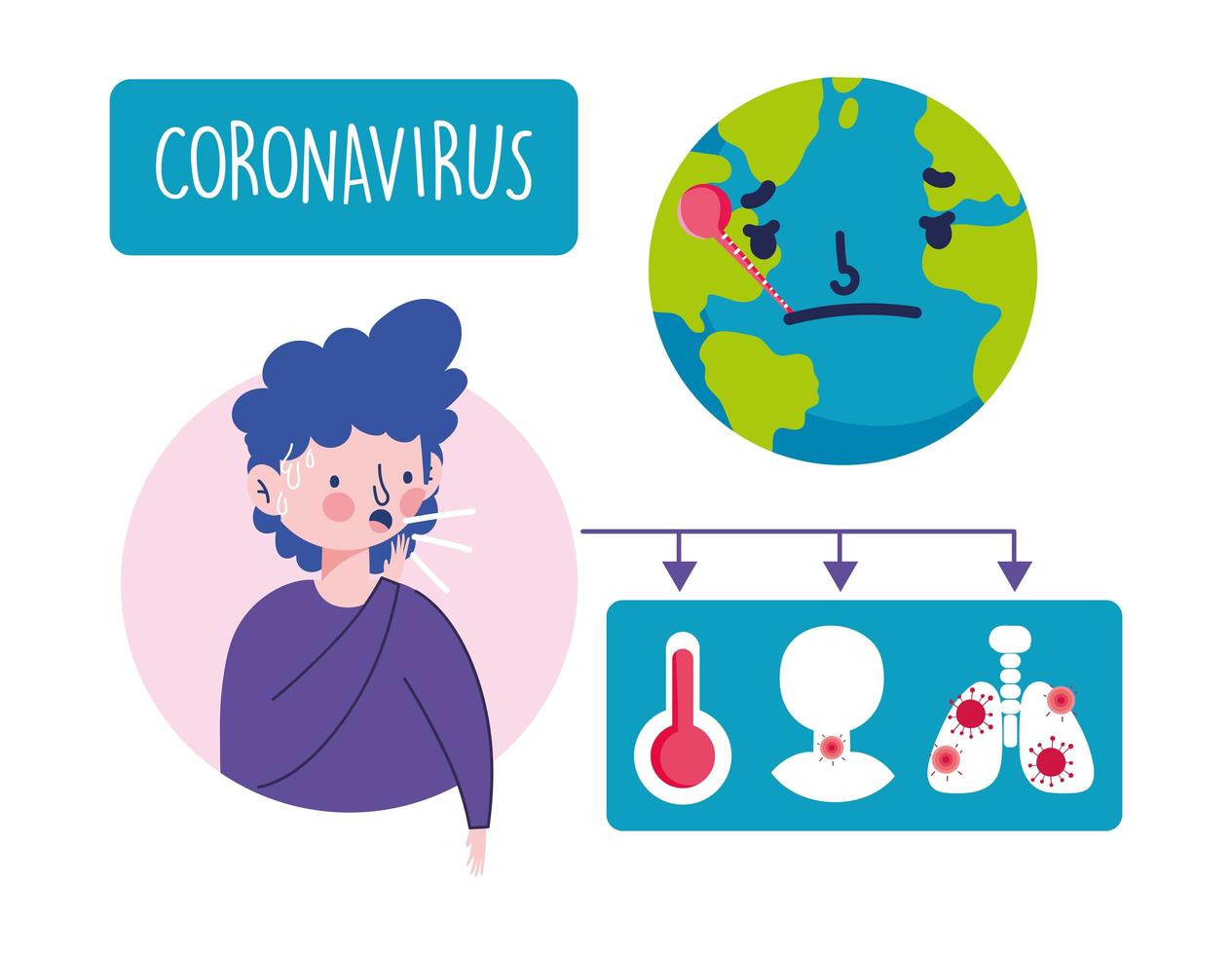ung man med infographic coronavirus symptom vektor