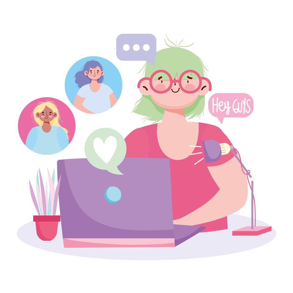 junge Frau mit Laptop auf einem digitalen Treffen vektor