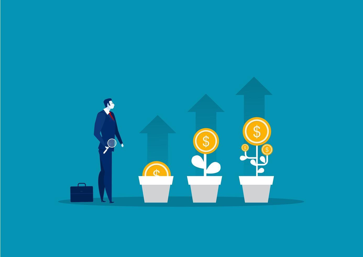Geschäftsmann, der Dollar vom Geldbaum auswählt vektor