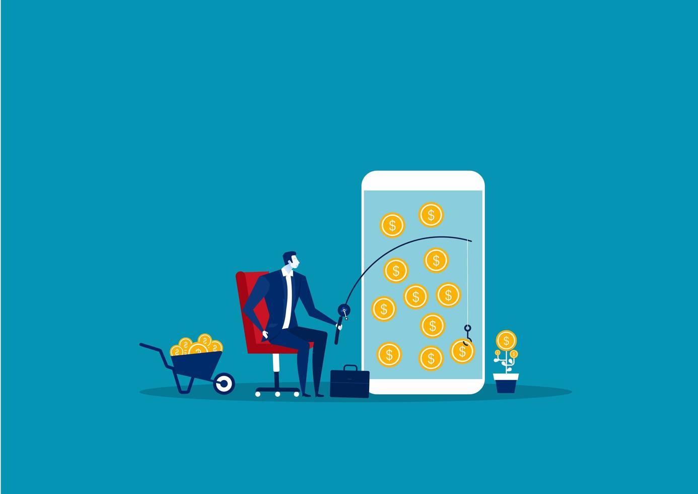 Geschäftsmann, der Geld auf Smartphone fischt vektor