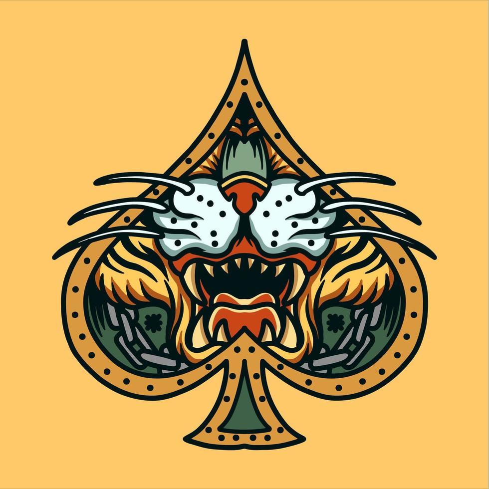 Tigergesicht im Spatenrahmen Tattoo vektor