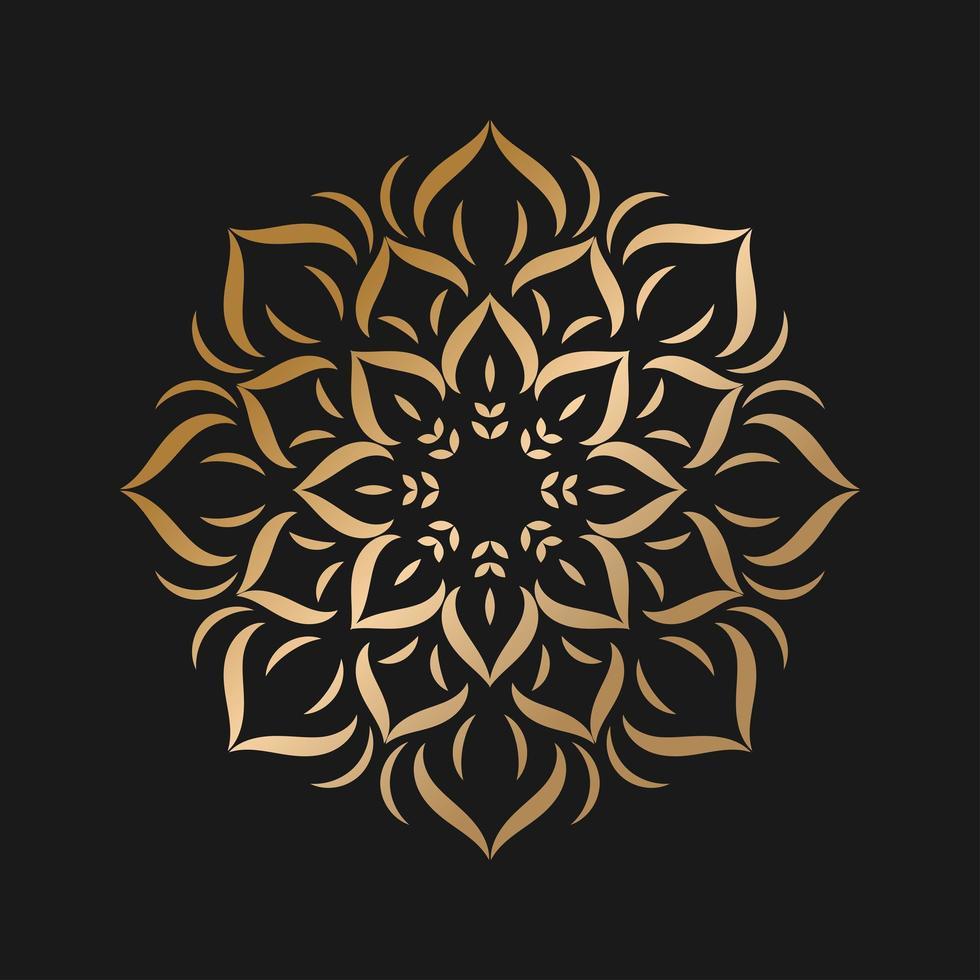 enkel gyllene mandala med blommstil vektor