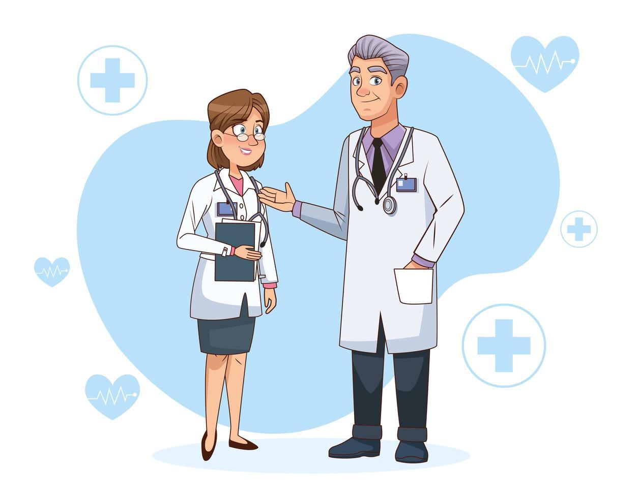 professionella läkare par karaktärer vektor