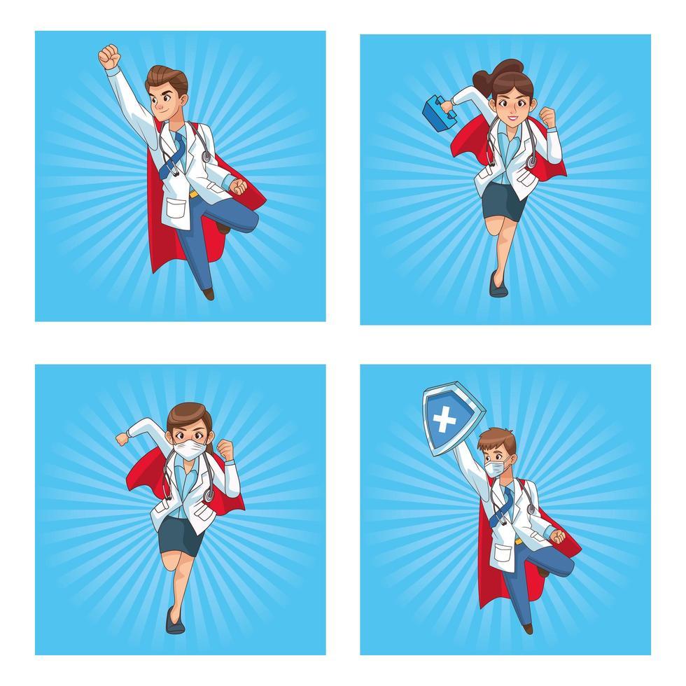 Super Ärzte Mitarbeiter Comicfiguren vektor
