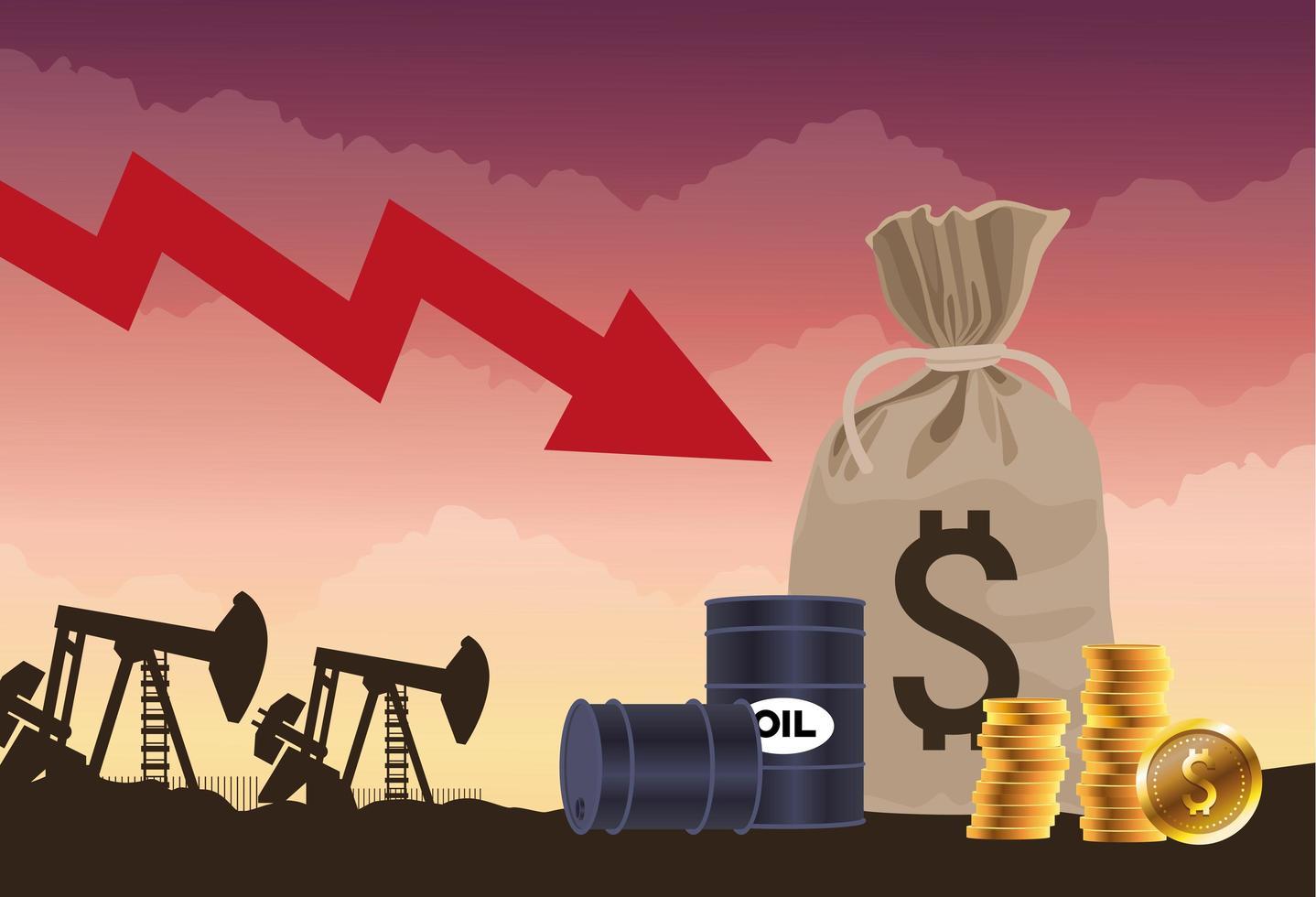 Ölpreismarkt mit Fässern und Münzen vektor