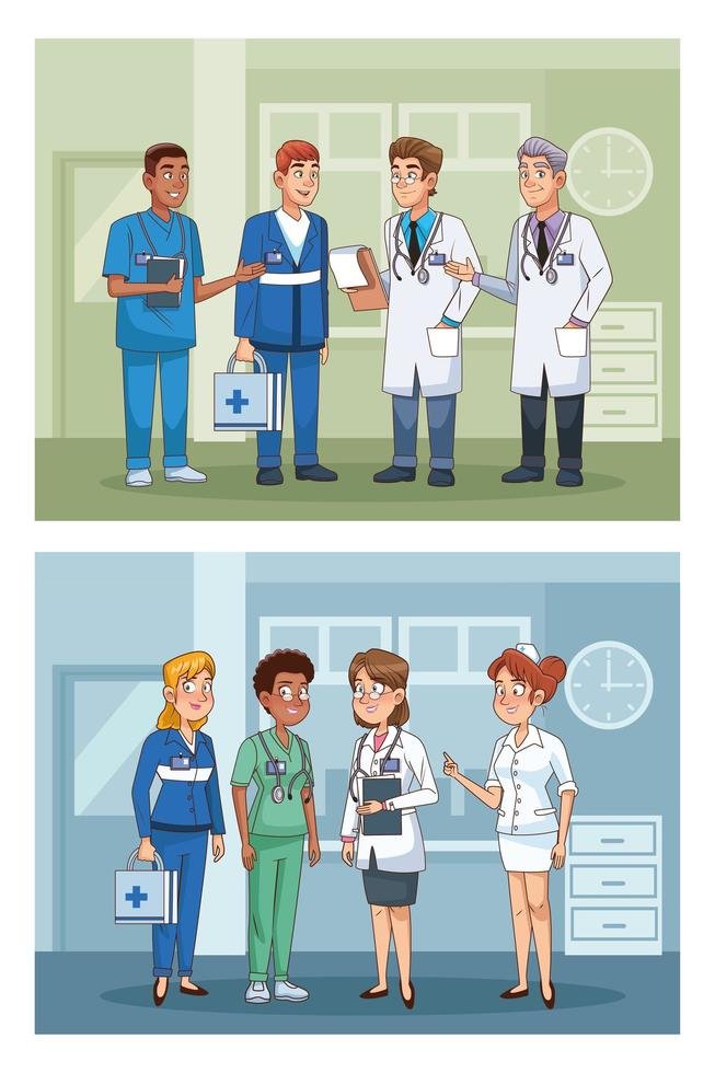 professionell läkare personal på sjukhus karaktärer vektor