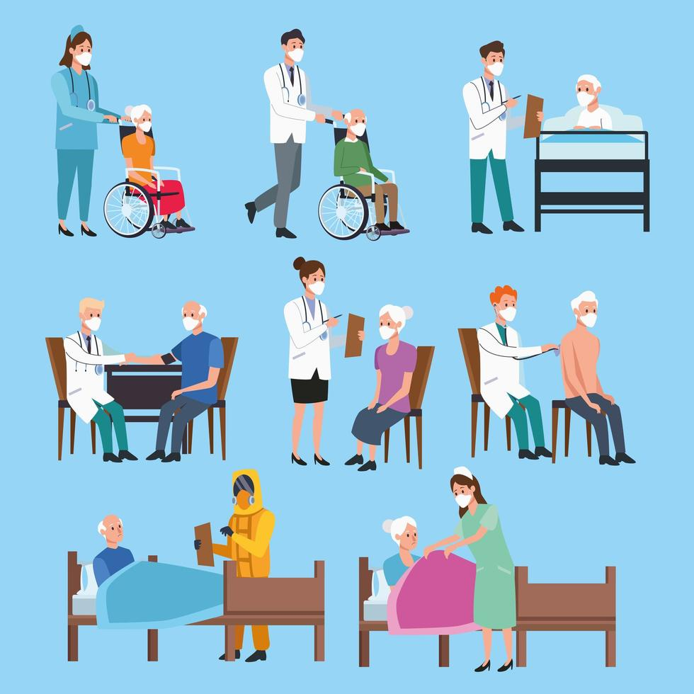 uppsättning medicinsk personal som skyddar äldre karaktärer vektor